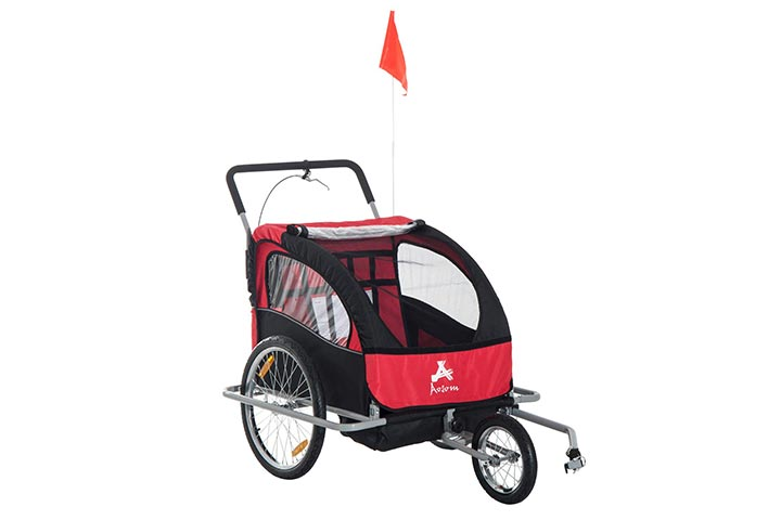 Aosom Elite 2-in-1 Double Child Bike TrailerJogger