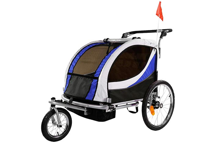 Clevr 3-in-1 Double 2 Seat Bicycle Bike Trailer Jogger Stroller for Kids Children