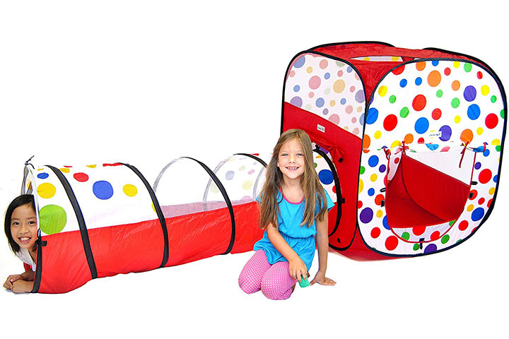 EWONDERWORLD 2 Pc Polka Dot Theme Pop Up Ball Pit Kids Play Tent & Tunnel With Carrying Bag