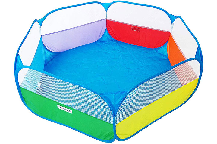 "EWONDERWORLD 40"" Kids Rainbow Pop-Up Hexagon Ball Pit Playpen with Carrying Tote Bag"