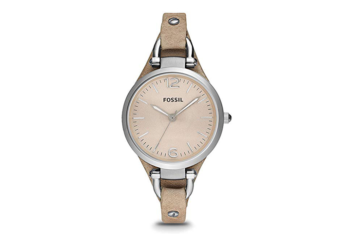 Fossil Georgia Quartz Stainless Steel and Leather Casual Watch