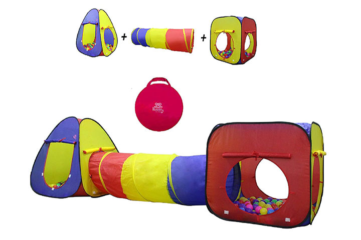 Kiddey 3pc Kids Play Tent Crawl Tunnel and Ball Pit Set