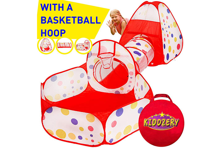 Kiddzery 3pc Kids Play Tent Crawl Tunnel and Ball Pit with Basketball Hoop