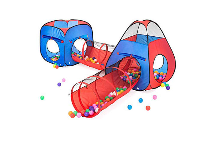 Kiddzery 4pc Kids Play tent Pop Up Ball Pit