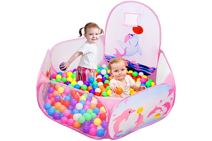 Likorlove Kid Ball Pit with Basketball Hoop