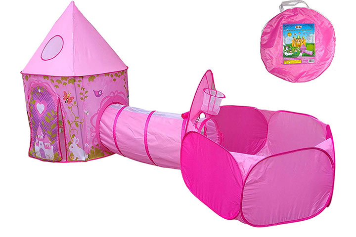 Playz 3pc Girls Princess Fairy Tale Castle Play Tent, Crawl Tunnel & Ball Pit w Pink Prairie Design