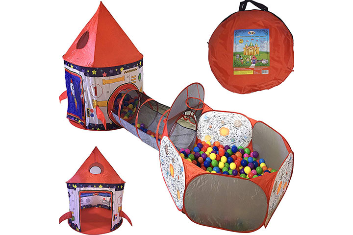 Playz 3pc Rocket Ship Astronaut Kids Play Tent, Tunnel, & Ball Pit with Basketball Hoop