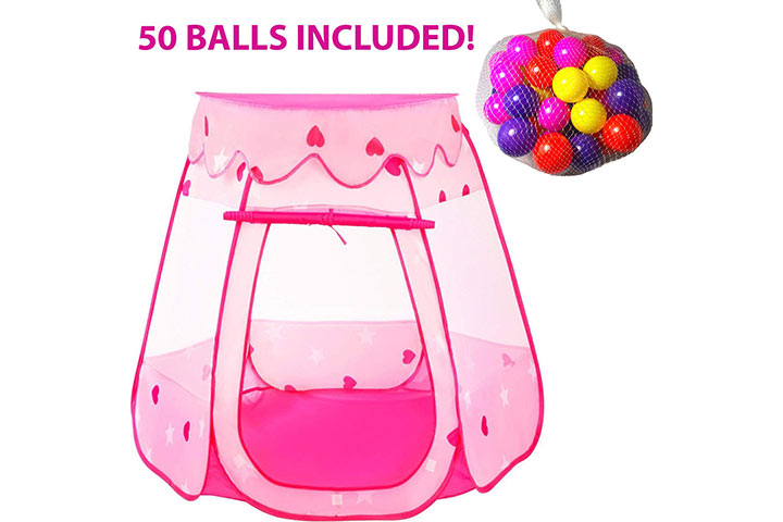 Playz Ball Pit Princess Castle Play Tents for Girls w Glow in The Dark Stars & 50 Balls
