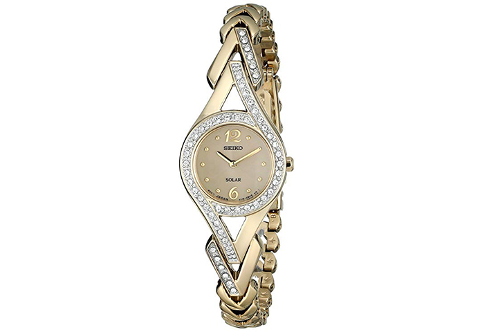 Seiko Swarovski Crystal-Accented Stainless Steel Solar Watch