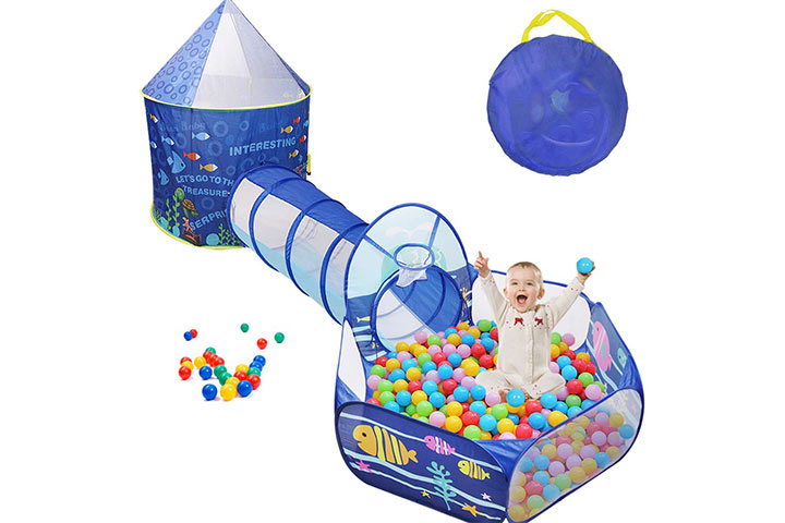 Sunba Youth Kids Play Tent, Crawl Tunnel and Ball Pit, Pop Up Playhouse