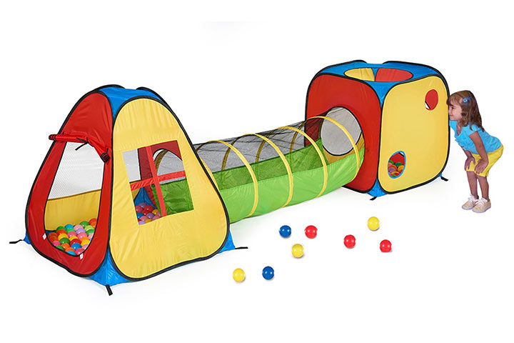 UTEX 3-in-1 Pop Up Play Tent with Tunnel, Ball Pit
