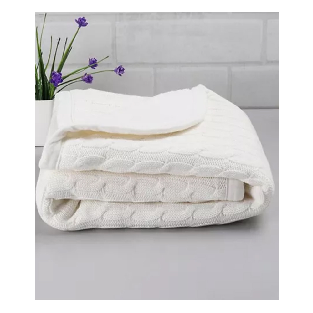Babyhug Premium Cotton Knitted & Fur Blanket