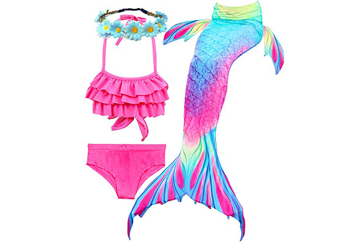 Camlinbo 3Pcs Mermaid Tail for Girls Swimsuits