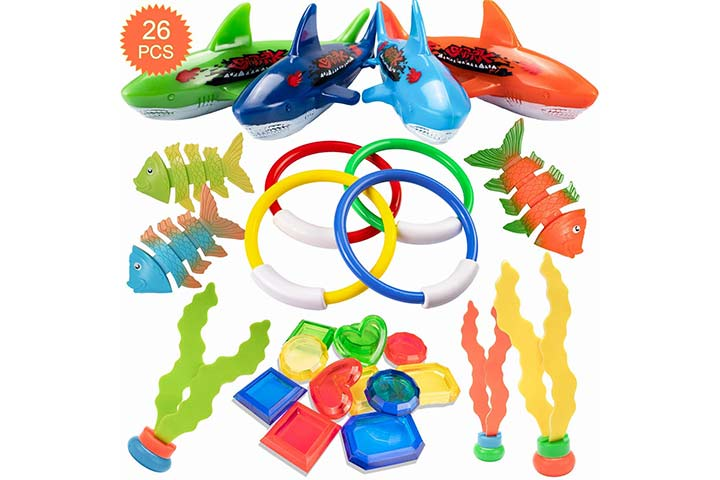 HENMI 26 Pack Diving Toy for Pool Use Underwater SwimmingDiving Pool Toy Rings