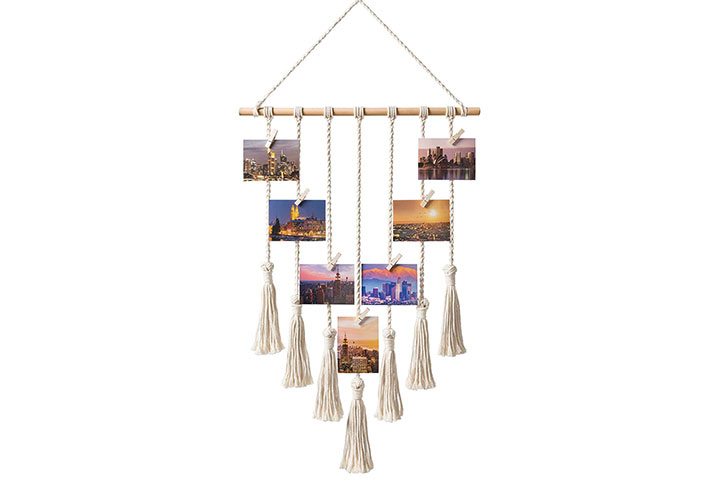 Mkono Hanging Photo Display Macrame Wall Hanging