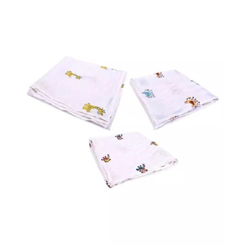 Mom's Home Organic Cotton Muslin Swaddle Cum Bath Towel Printed Pack