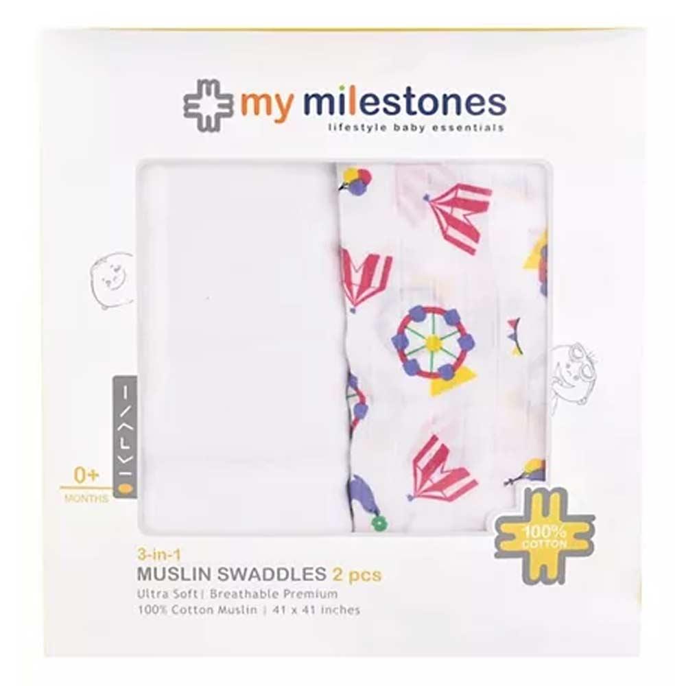 My Milestones 3 in 1 Muslin Swaddle Wrapper Pack-3