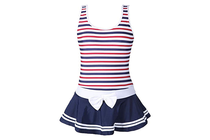 QRH Big Girls Poptical Stripes 1 Piece Swimsuit