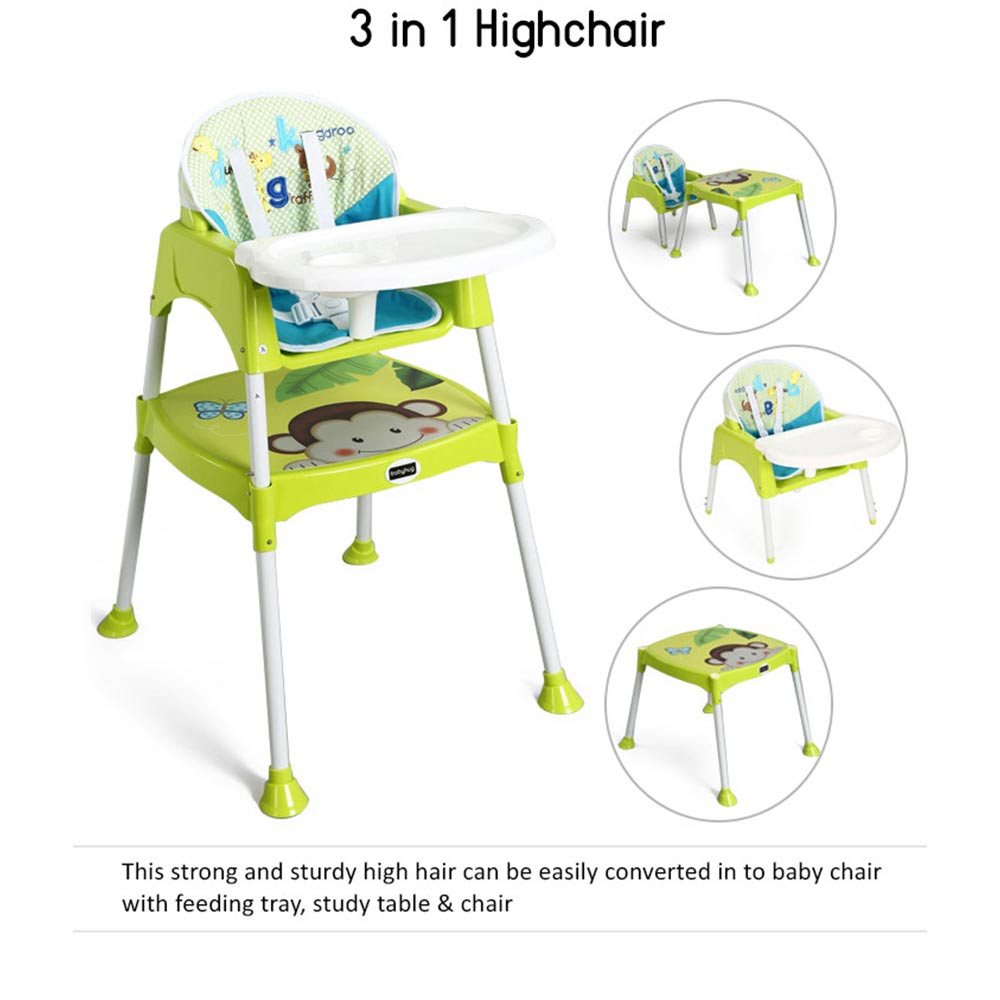 Babyhug 3 in 1 Play & Grow High Chair With 5 Point Safety Harness And Anti-Slip Base