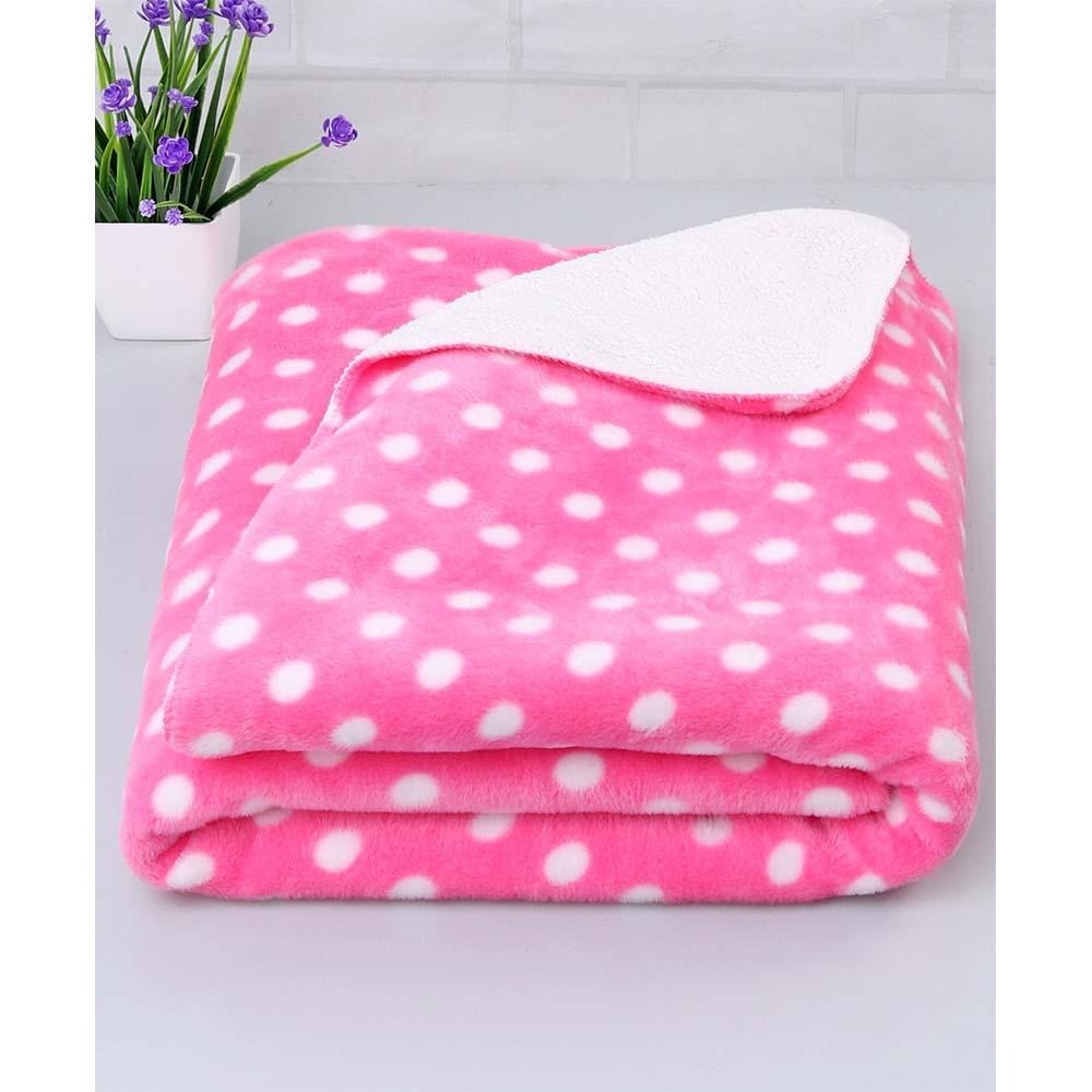 Babyhug Large Size Poly Wool All Seasons Blanket Polka Dots
