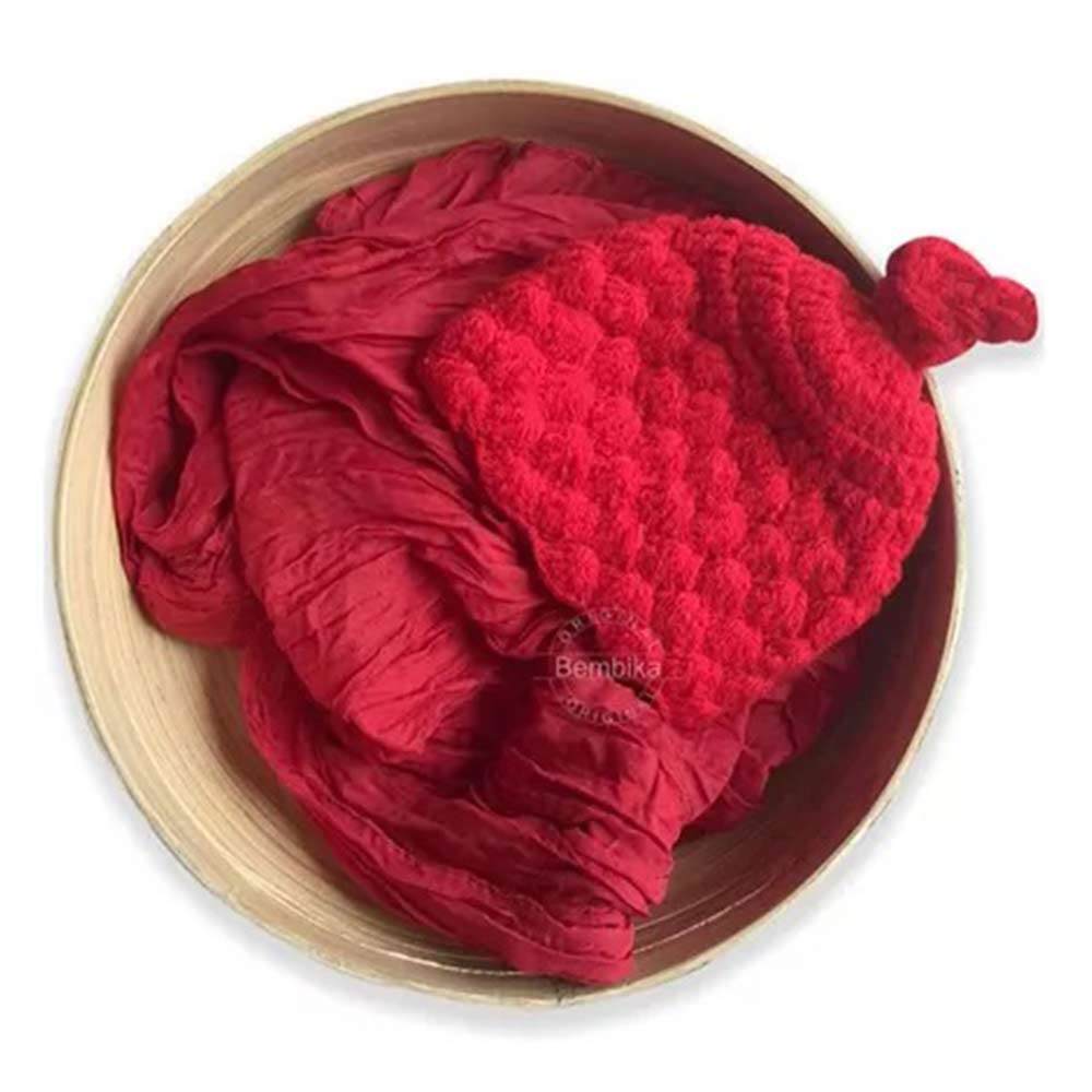 Bembika Baby Photography Props knitted Crochet Cap & Wrap