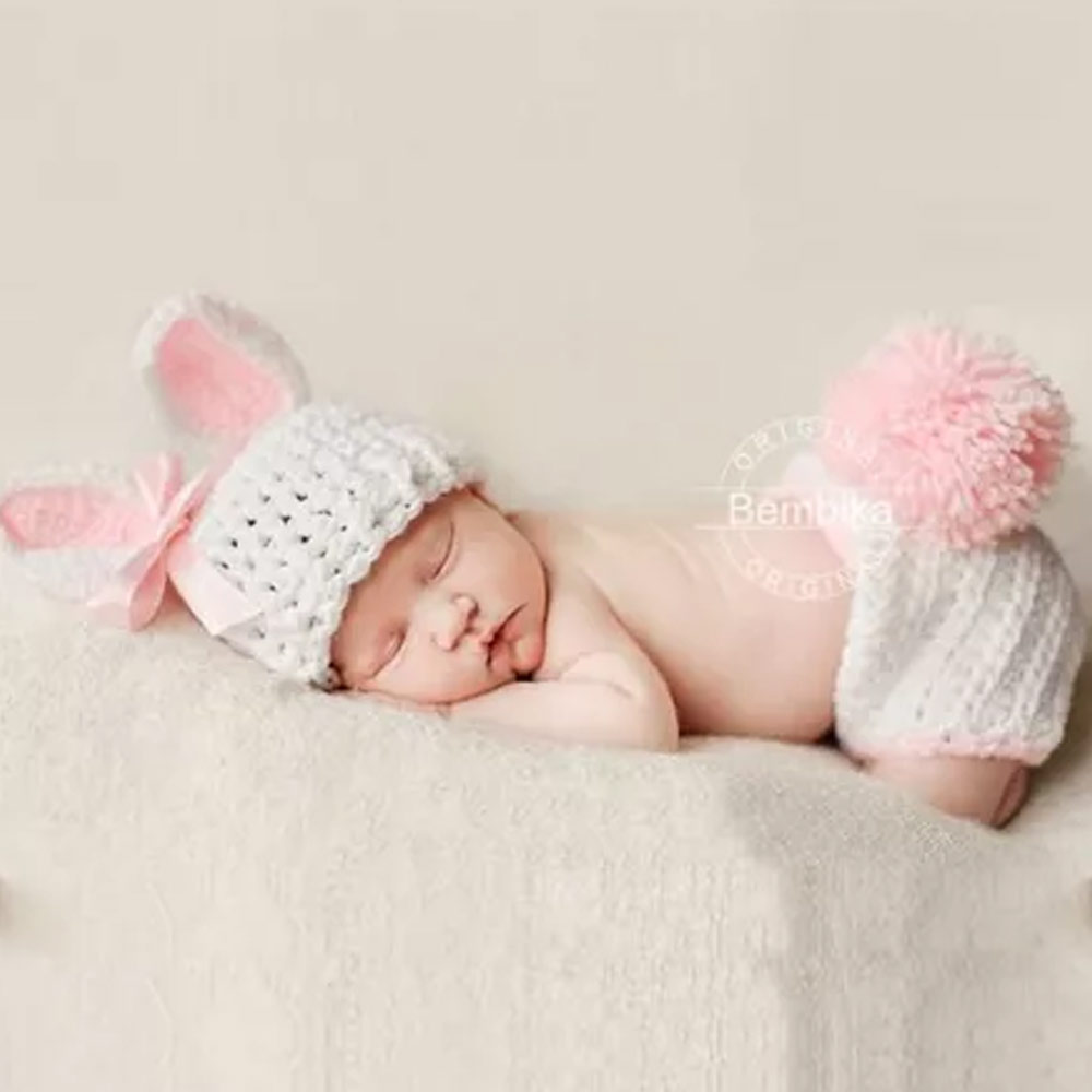 Bembika Knitted Bunny Cap & Diaper Cover Photo Props Set