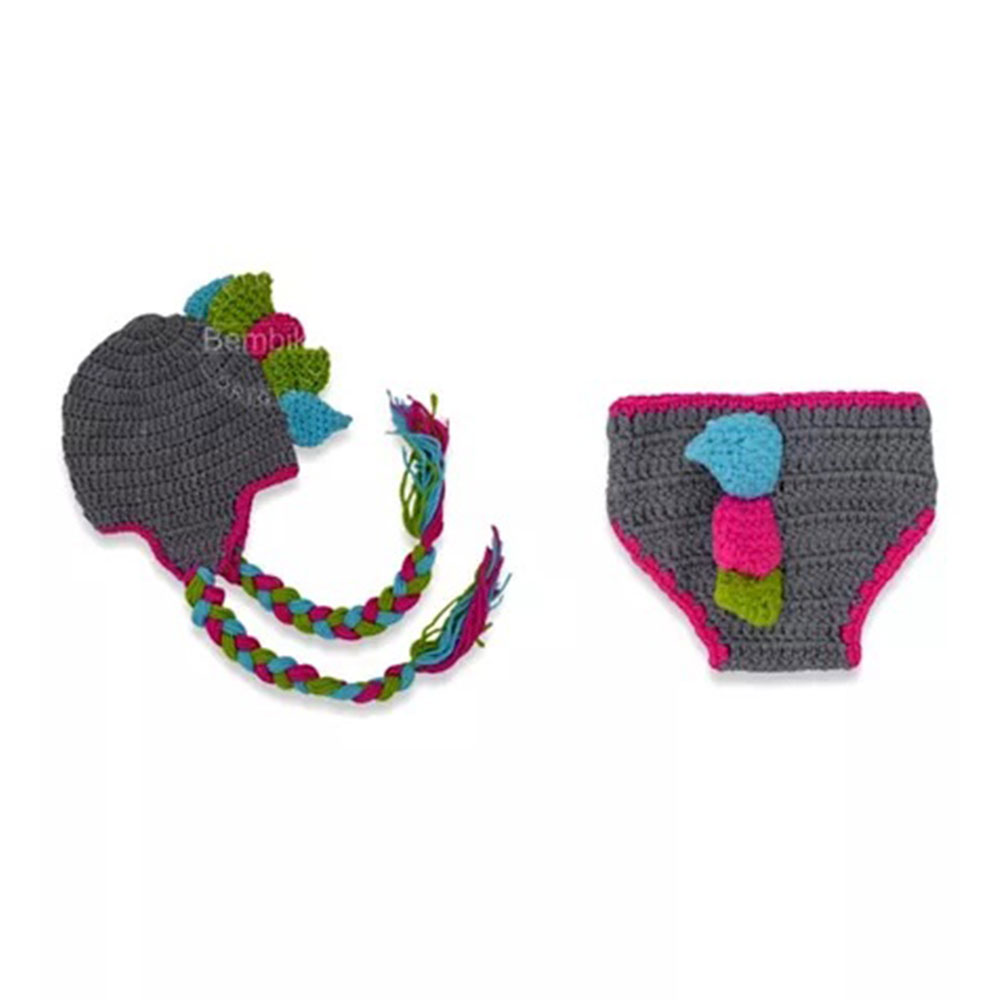 Bembika Knitted Chunky Dinosaur Cap & Diaper Cover Photo Prop Set