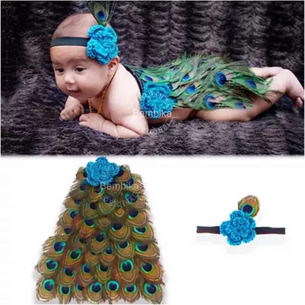 Bembika Knitted Peacock Tail & Headband Photo Props Set