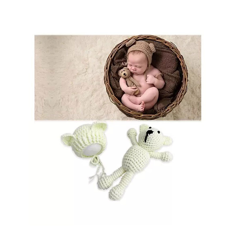 Bembika Newborn Crochet Bonnet Cap And Teddy Bear Photography Photoshoot Prop