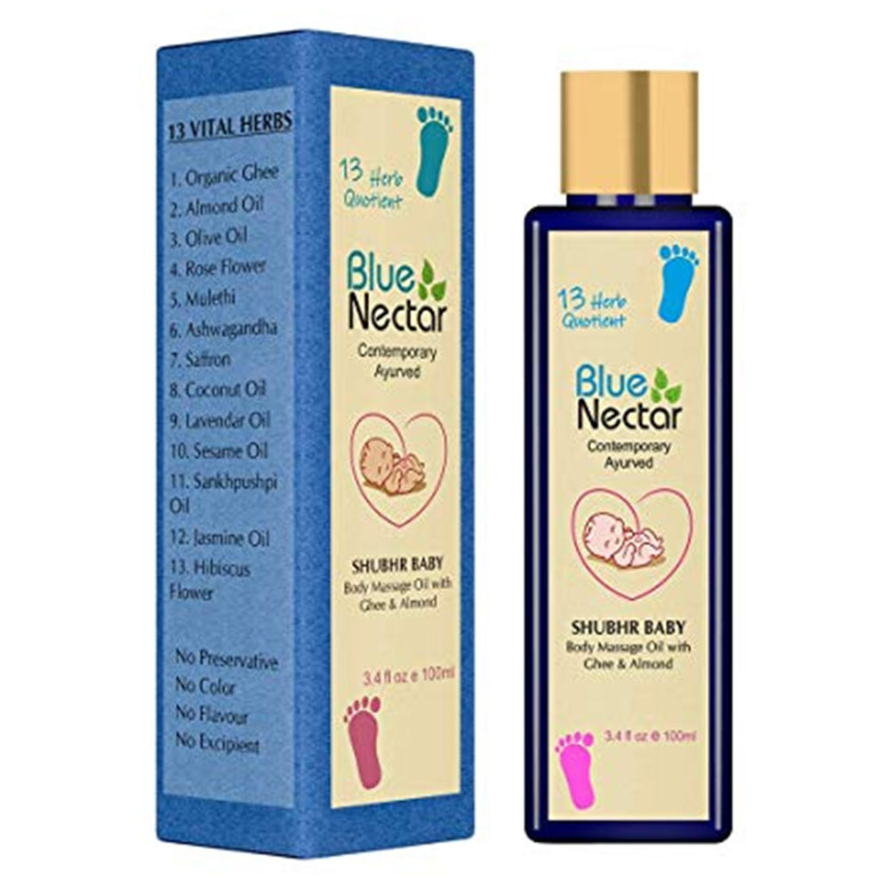 Blue Nectar Ayurvedic Baby Oil with Ghee, Almond Oil & Vitamin E