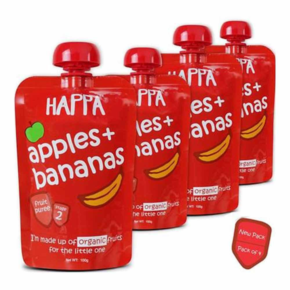 Happa Organic Apple & Banana Fruit Puree Baby Food