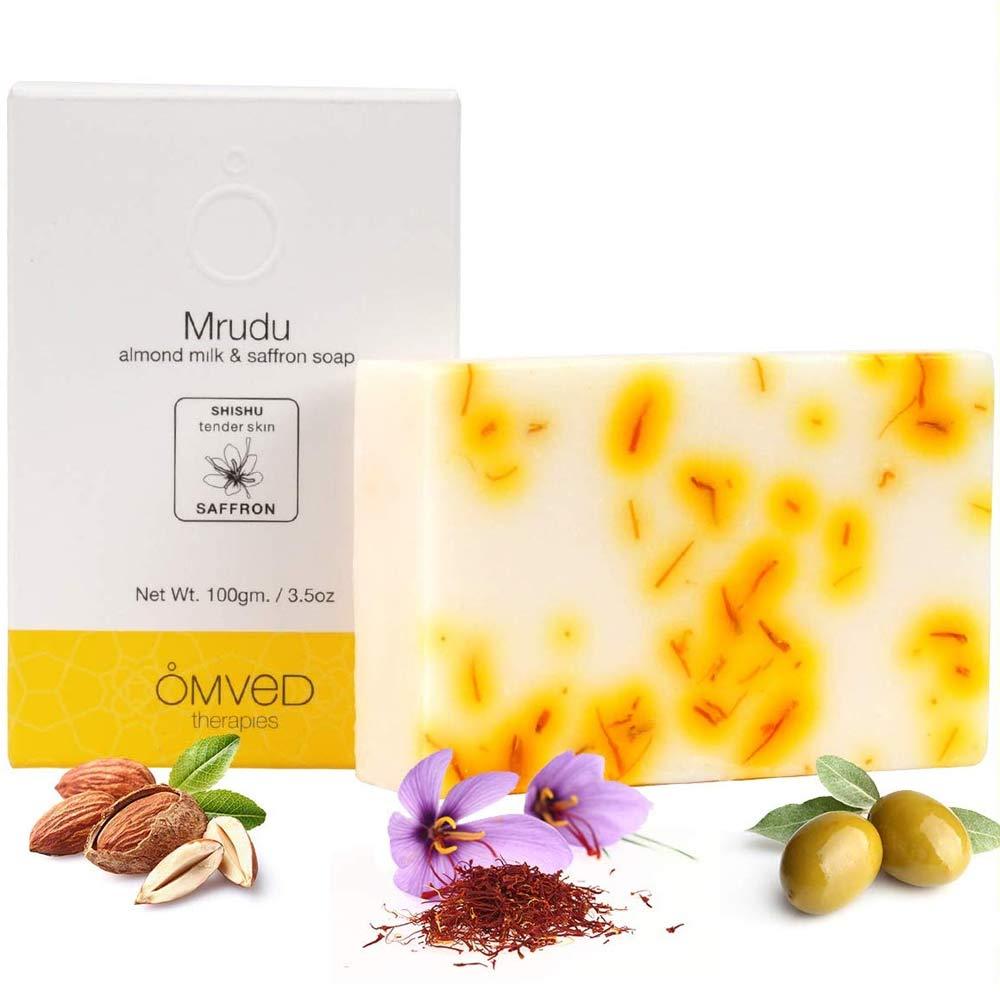 Omved MRUDU Almond Milk and Saffron Ayurvedic Baby Soap