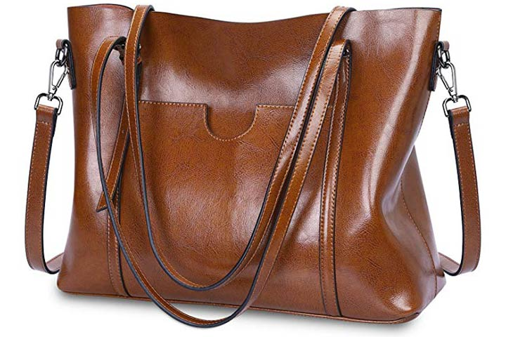 S-ZONE Women Genuine Leather Laptop Bag