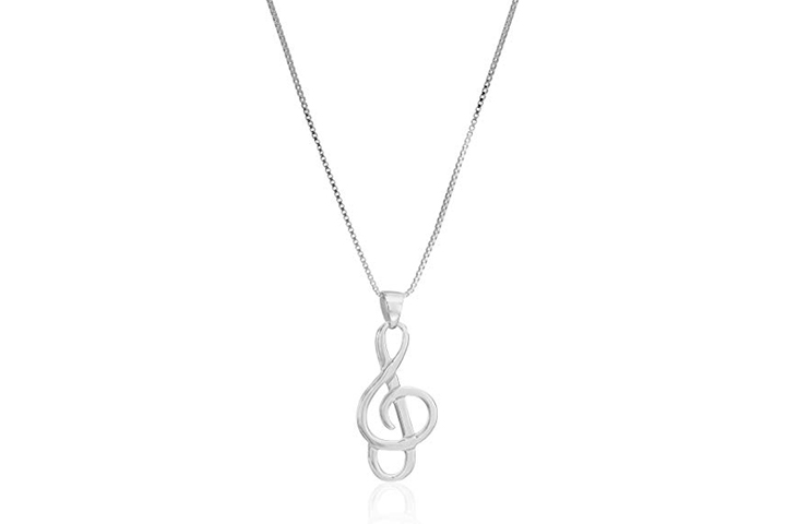 Sterling Silver Musical Note Pendant Necklace