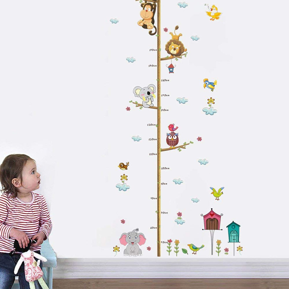 DecalMile Animals Monkey Elephant Tree Branches Height Chart Kids Wall Sticker