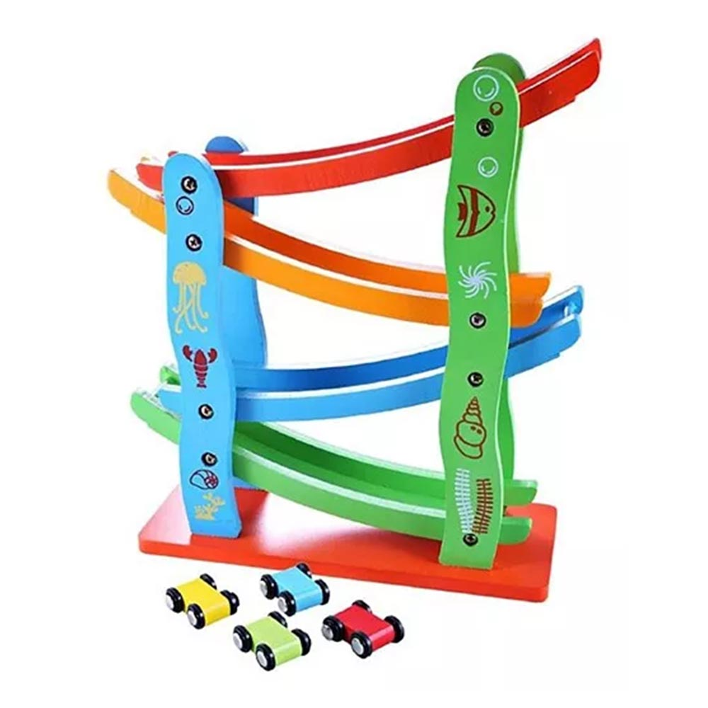 Emob Wooden Car Track Set
