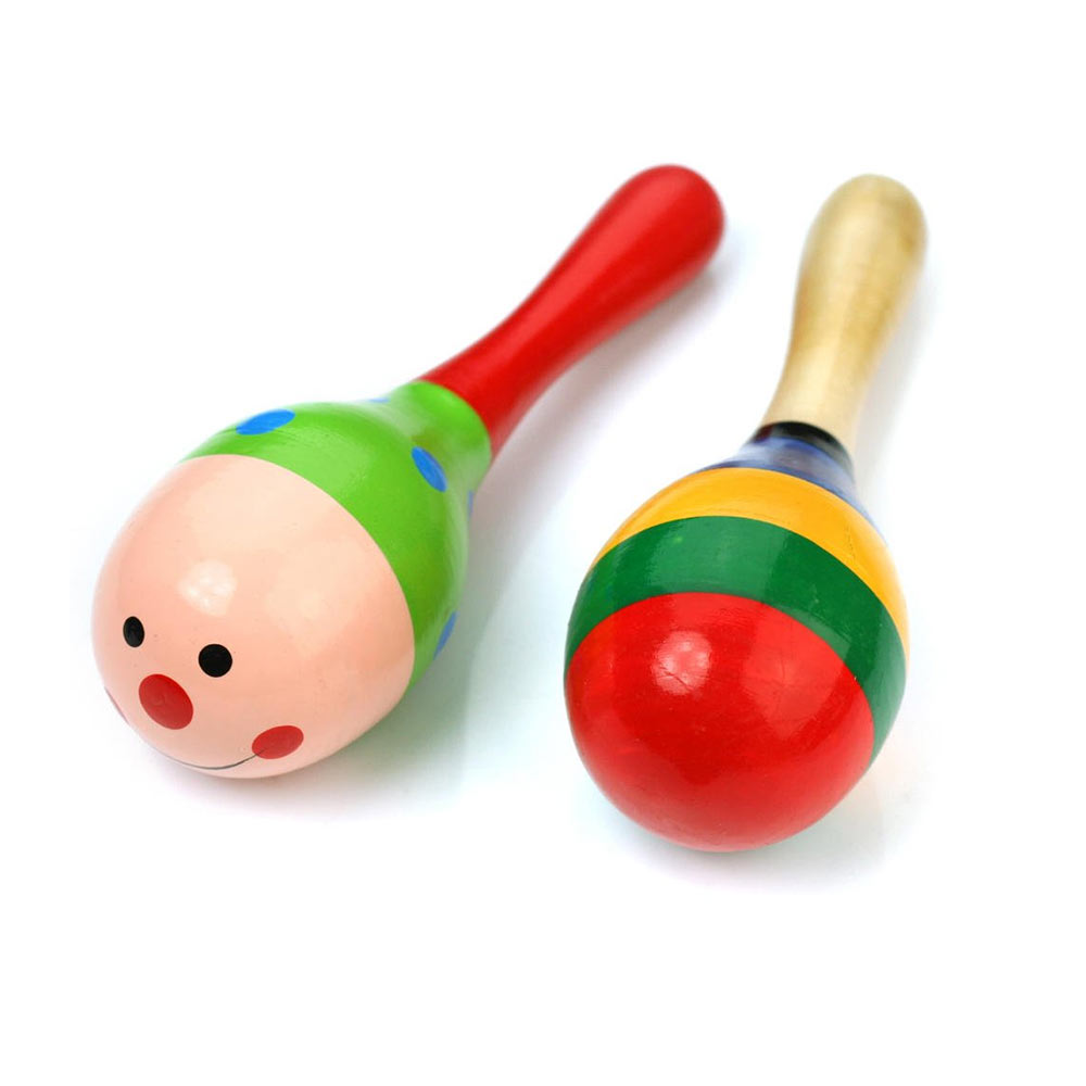 Baby Station Wooden Ball Toy Sand Hammer Rattle Musical Instrument