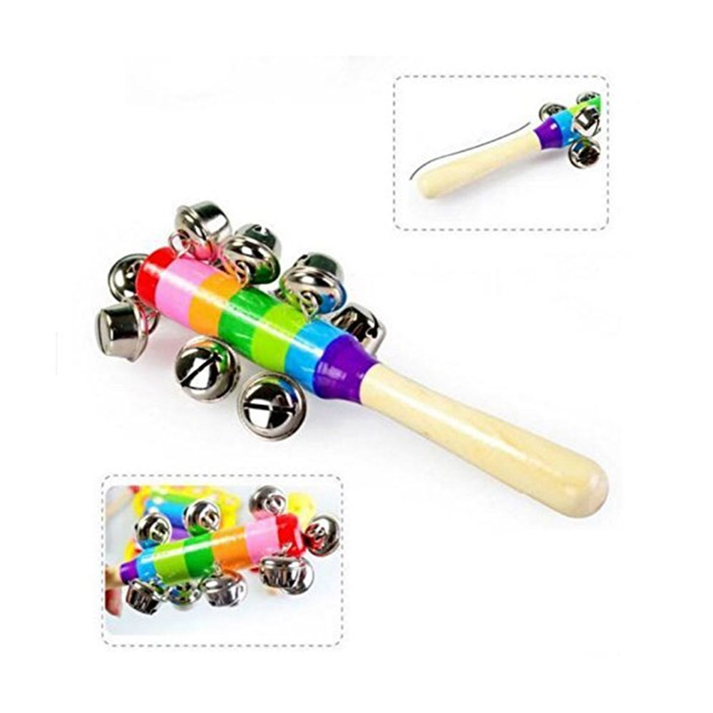 Baby Station Wooden Handle Jingle Bell Rattle Toys