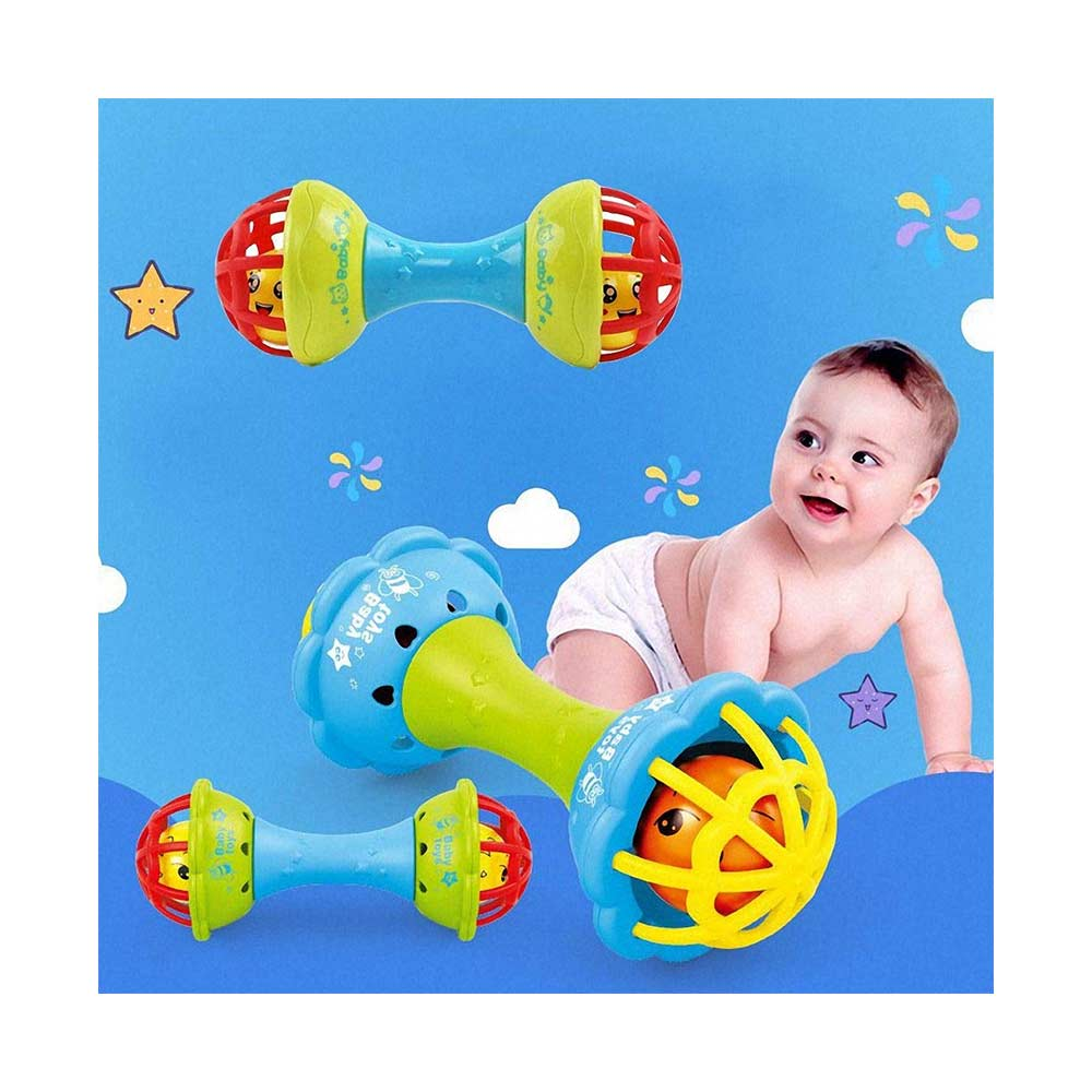 BabyGo Baby Dumbbell Rattle Teether Bell Toy