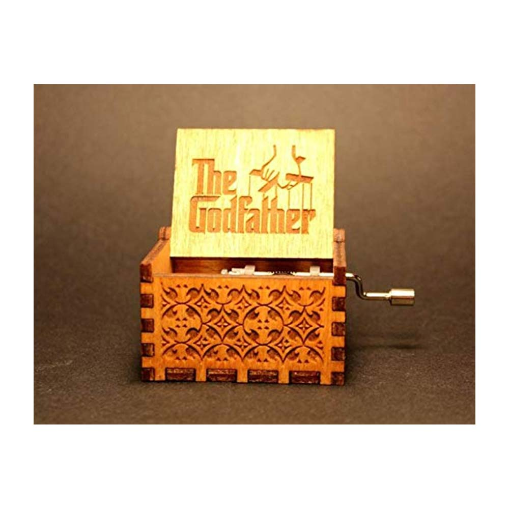 Bigaxi  Hand Cranked Collectable Engraved Wooden Music