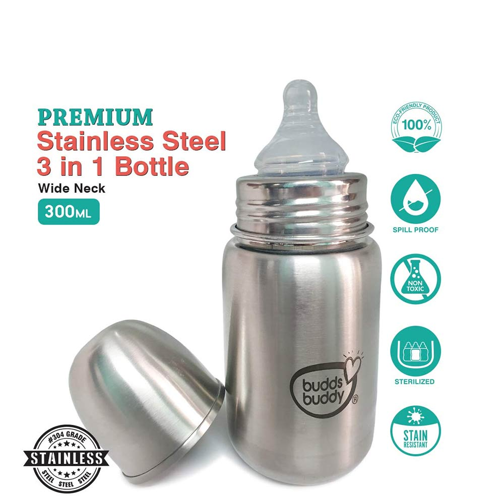 Buddsbuddy Premium Stainless Steel 3 in 1 Feeding Bottle