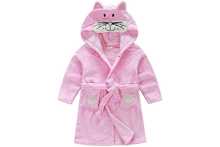 Kids Little Boys Girls Coral Fleece Bathrobe