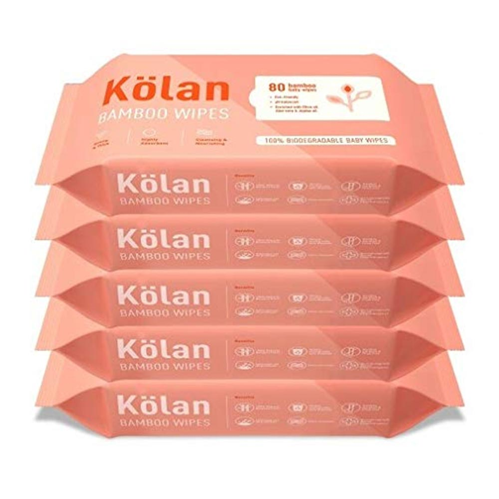 Kolan Eco-Friendly Bamboo Baby Wipes with Olive Oil
