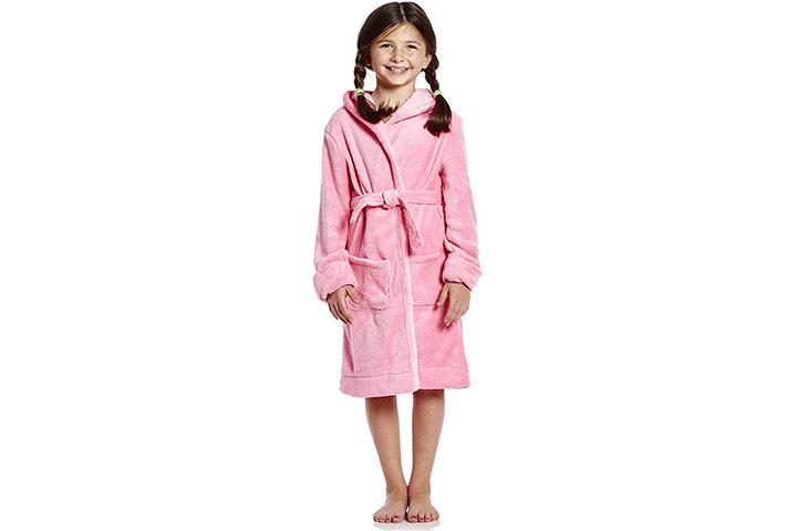 Leveret Kids Robe Boys Girls Solid Hooded Fleece Sleep Robe Bathrobe