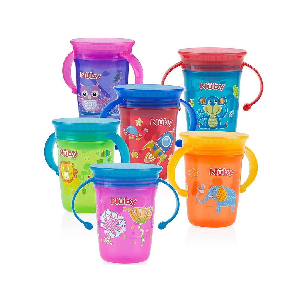 Nuby 1pk No Spill 2-Handle 360 Degree Printed Wonder Cup-1