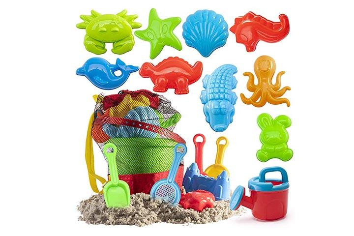 Prextex 19 Piece Beach Toys Sand Toys Set