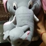 Tickles Mother Elephant With Single Baby Plush Toy-elephant and baby-By vanajamk