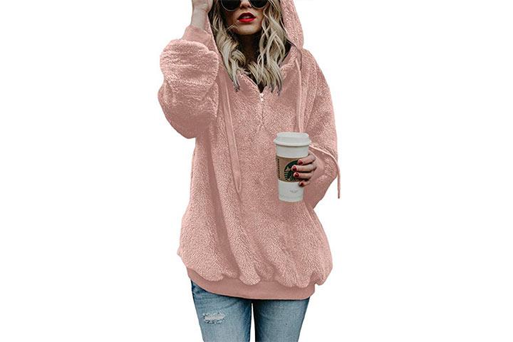 Acelitt Women's Fuzzy Casual Loose Oversized Sweatshirt Hooded with Pockets
