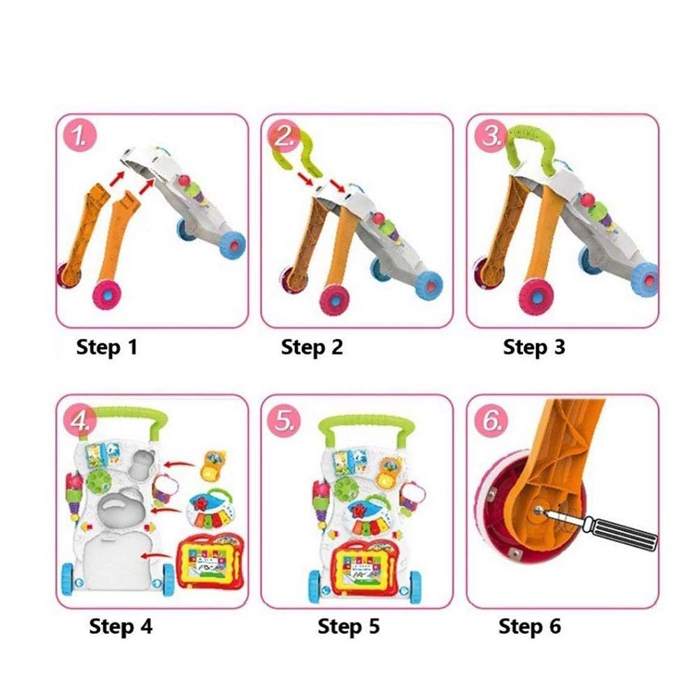 AdiChai 4 in 1 Baby Sit-to-Stand Musical Walker with Music Piano