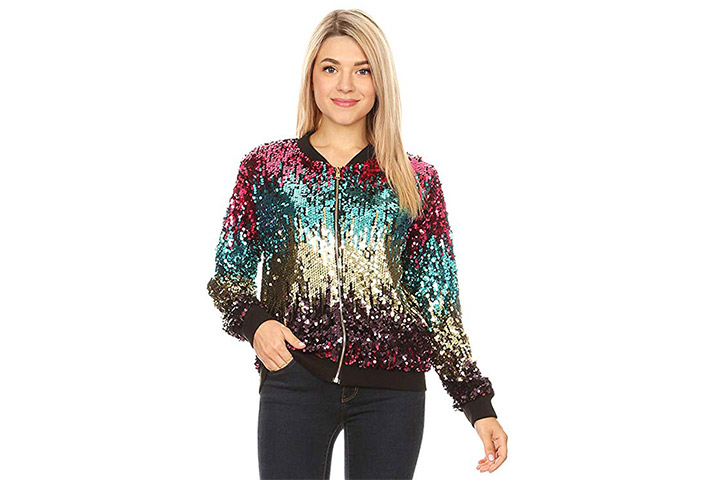 Anna-Kaci Women's Sequin Long Sleeve Front Zip Jacket with Ribbed Cuffs